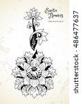 fantastic exotic flowers in...   Shutterstock .eps vector #486477637