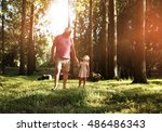 little girl spending time with... | Shutterstock . vector #486486343
