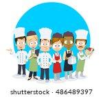 vector cartoon illustration of... | Shutterstock .eps vector #486489397