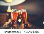 two friends toasting with... | Shutterstock . vector #486491203