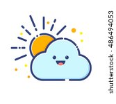 vector stock of cloud and sun... | Shutterstock .eps vector #486494053
