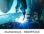 welding robots movement auto... | Shutterstock . vector #486494263