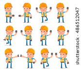 set of funny and cheerful... | Shutterstock .eps vector #486512047