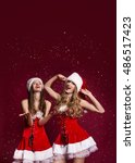 two gorgeous women dressed in... | Shutterstock . vector #486517423
