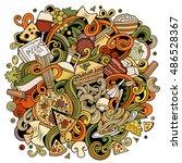 cartoon cute doodles hand drawn ... | Shutterstock .eps vector #486528367