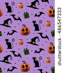 halloween violet pattern.... | Shutterstock . vector #486547333