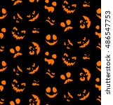 halloween seamless pattern of... | Shutterstock .eps vector #486547753