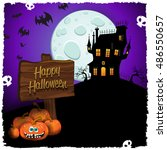halloween castle with cartel... | Shutterstock .eps vector #486550657