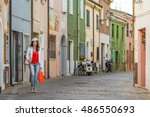 middle aged woman with shopping ... | Shutterstock . vector #486550693
