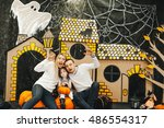 fun halloween decorations.... | Shutterstock . vector #486554317