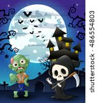 halloween background with grim... | Shutterstock .eps vector #486554803