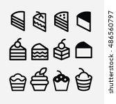 cake icon set. pie vector.... | Shutterstock .eps vector #486560797