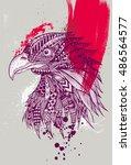 zentangle stylized hawk with... | Shutterstock .eps vector #486564577