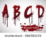 vector blood alphabet is... | Shutterstock .eps vector #486583153