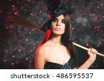 halloween party. beautiful... | Shutterstock . vector #486595537