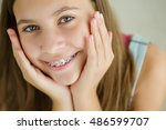 portrait of cute kid with... | Shutterstock . vector #486599707