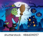 witch with cat and broom theme... | Shutterstock .eps vector #486604057