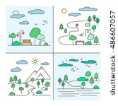 vector set of four country... | Shutterstock .eps vector #486607057