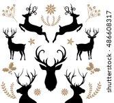 deer collection | Shutterstock .eps vector #486608317