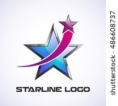 star logo. crossed star.... | Shutterstock .eps vector #486608737