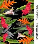 seamless tropical flower  plant ... | Shutterstock . vector #486610537