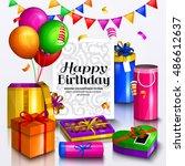 happy birthday greeting card....   Shutterstock .eps vector #486612637