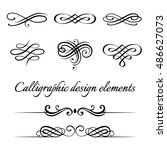 vector set of calligraphic and... | Shutterstock .eps vector #486627073