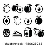 peach  apricot  fruit icons set | Shutterstock .eps vector #486629263
