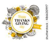 vector hand drawn thanksgiving... | Shutterstock .eps vector #486630997