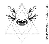 all seeing eye symbol.... | Shutterstock .eps vector #486636133