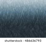 heavy rain illustration on blue ... | Shutterstock . vector #486636793