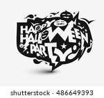 happy halloween party greeting... | Shutterstock .eps vector #486649393