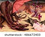 fighting scene between dragon... | Shutterstock .eps vector #486672403