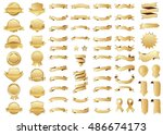 banner gold vector icon set on... | Shutterstock .eps vector #486674173