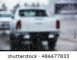 blur white pick up by rain drop ...