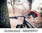 mountain bike and helmet in... | Shutterstock . vector #486698947
