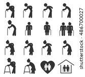 elderly icon symbol vector... | Shutterstock .eps vector #486700027