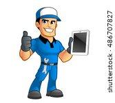 sympathetic car mechanic  he...   Shutterstock .eps vector #486707827
