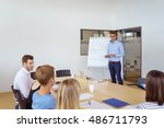 team leader giving a... | Shutterstock . vector #486711793