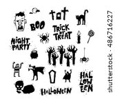 happy halloween poster  banner  ...   Shutterstock .eps vector #486716227