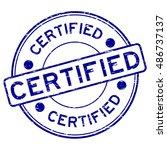 grunge blue round certified... | Shutterstock .eps vector #486737137