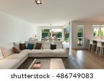 living room of luxury house ... | Shutterstock . vector #486749083