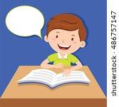 cute boy reading book | Shutterstock .eps vector #486757147