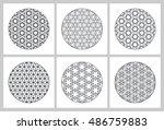 six mandala ornaments... | Shutterstock .eps vector #486759883