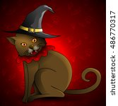cute brown cat wearing a witch... | Shutterstock .eps vector #486770317