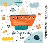 cute hand drawn postcard with... | Shutterstock .eps vector #486772903