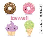 cute kawaii food characters  ... | Shutterstock .eps vector #486816523