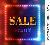 dark festive sale banner or... | Shutterstock .eps vector #486825247