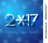 happy new year 2017 text design.... | Shutterstock .eps vector #486825367