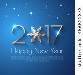 happy new year 2017 text design.... | Shutterstock .eps vector #486825373
